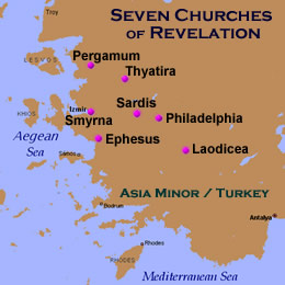 """Write on a scroll what you see and send it to the seven churches: to Ephesus, Smyrna, Pergamum, Thyatira, Sardis, Philadelphia and Laodicea."""